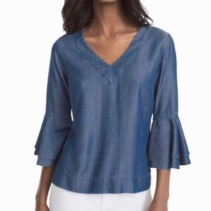 WHBM | Tiered Bell Sleeve Carmen Chambray Top
